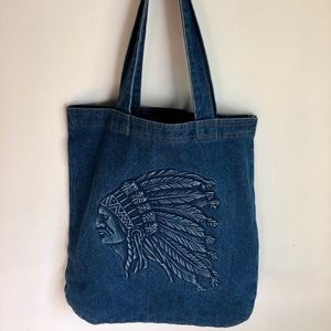 Handbags - BNWOT 100% Cotton Denim American Indian Tote